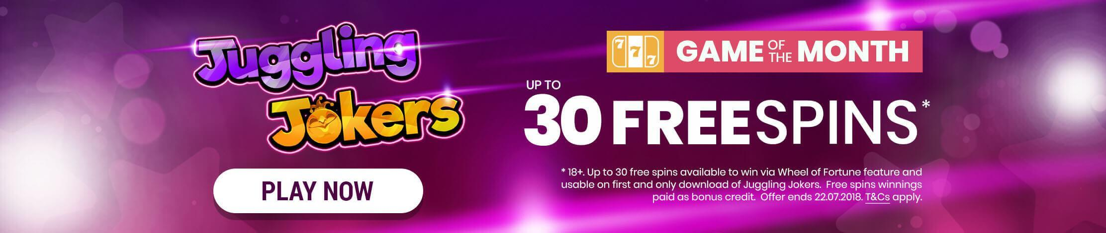 Juggling Jokers. Online slots of the month. Win up to 30 Free Spins