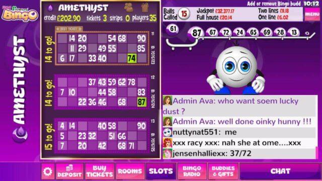 mFortune mobile bingo amethyst screenshot