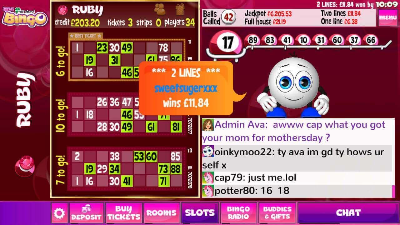 mFortune Bingo ruby mobile bingo room