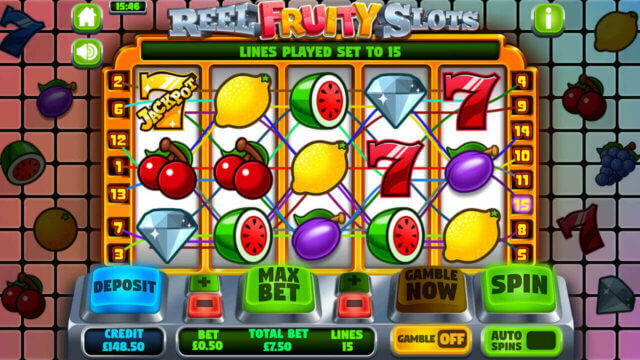 Reel Fruity Slots mobile slots by mFortune Casino win lines screenshot