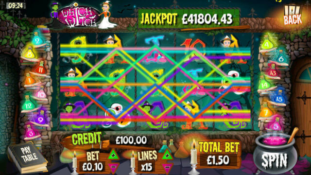 Win lines in Which Witch mobile slots by mFortune