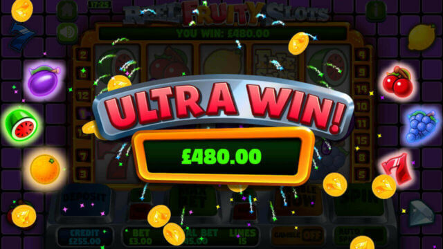 Reel Fruity Slots mobile slots by mFortune Casino big win message screenshot