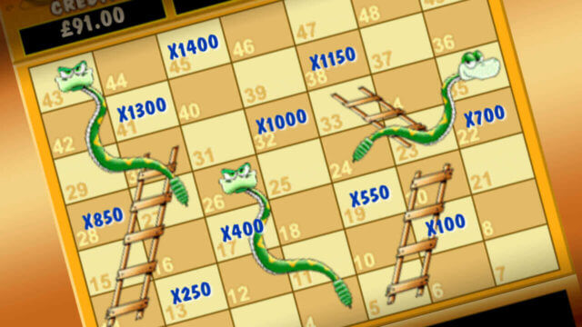 Snakes and Ladders mobile slots by mFortune Casino mini-game